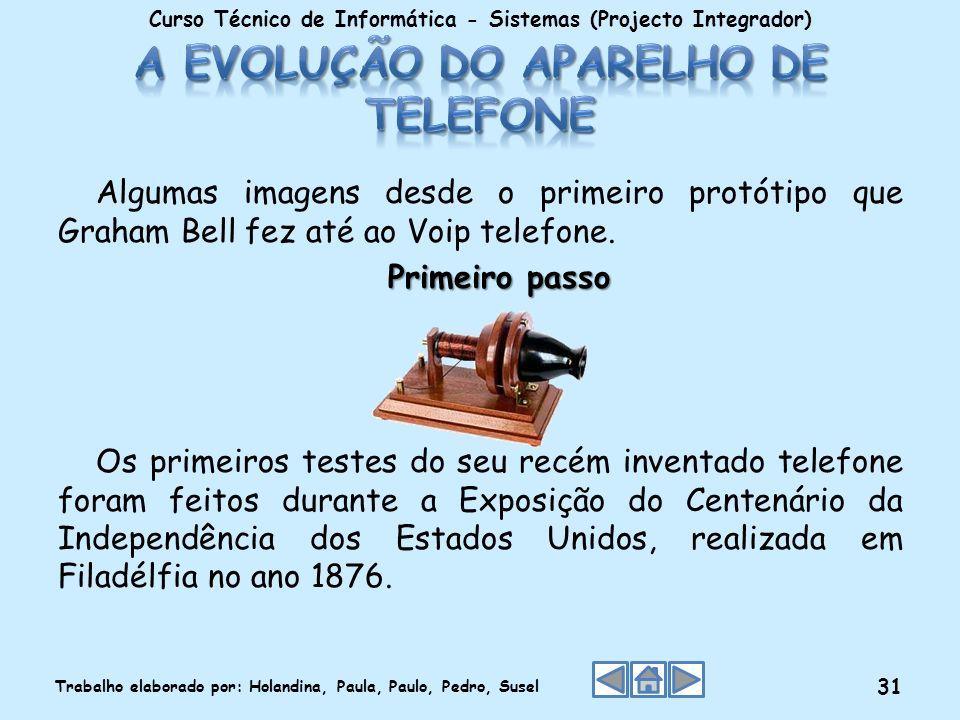 Algumas imagens desde o primeiro protótipo que Graham Bell fez até ao Voip telefone. Primeiro passo Os primeiros testes do seu recém inventado telefon