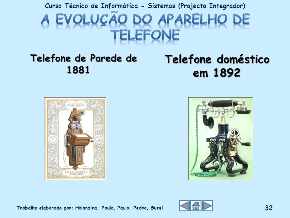 Telefone de Parede de 1881 Telefone de Parede de 1881 Telefone doméstico em 1892 Curso Técnico de Informática - Sistemas (Projecto Integrador) Trabalh