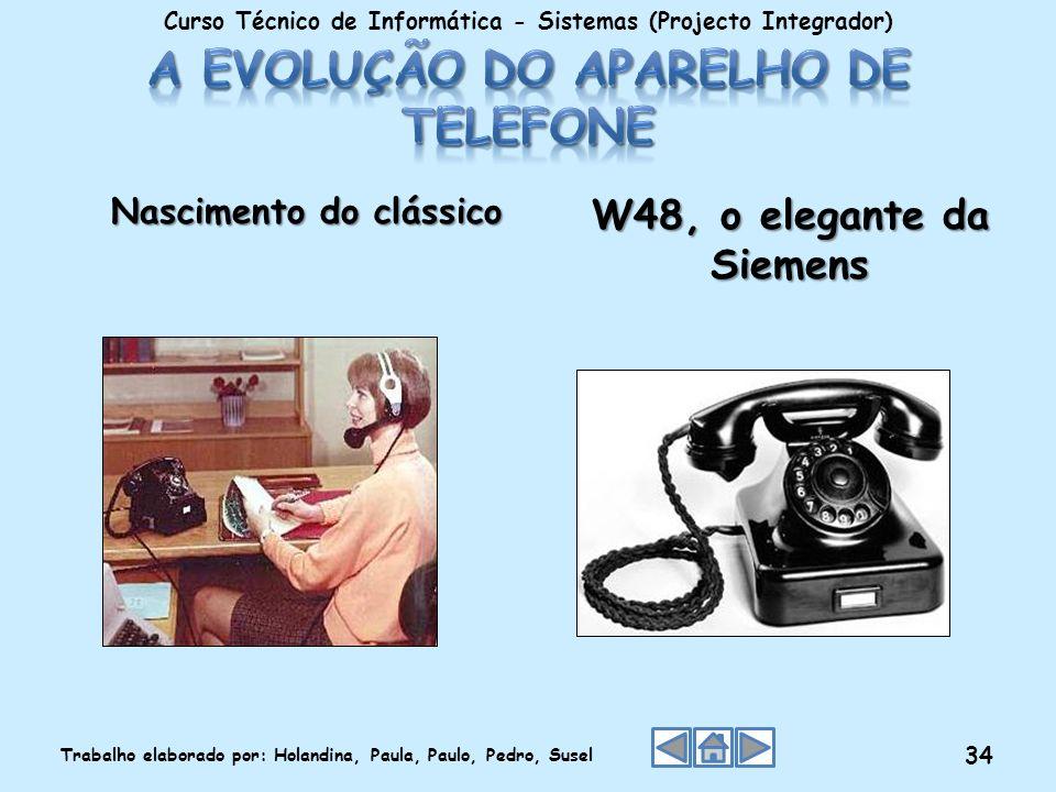 Nascimento do clássico W48, o elegante da Siemens Curso Técnico de Informática - Sistemas (Projecto Integrador) Trabalho elaborado por: Holandina, Pau