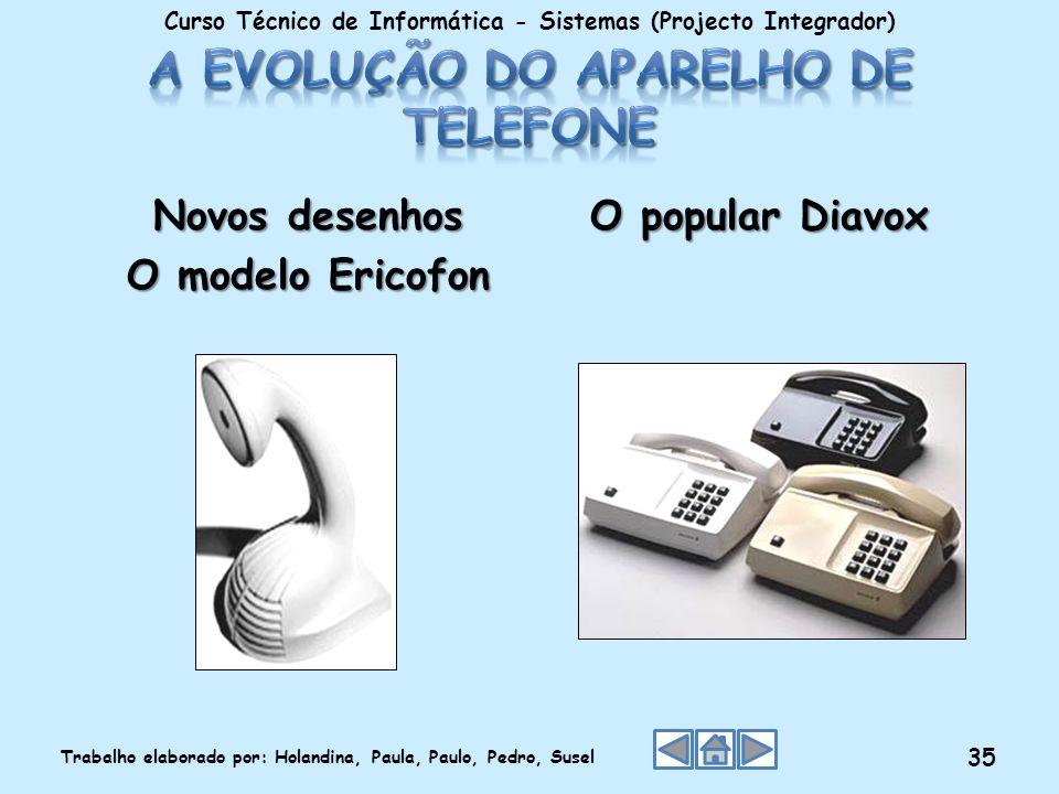 Novos desenhos O modelo Ericofon O popular Diavox Curso Técnico de Informática - Sistemas (Projecto Integrador) Trabalho elaborado por: Holandina, Pau