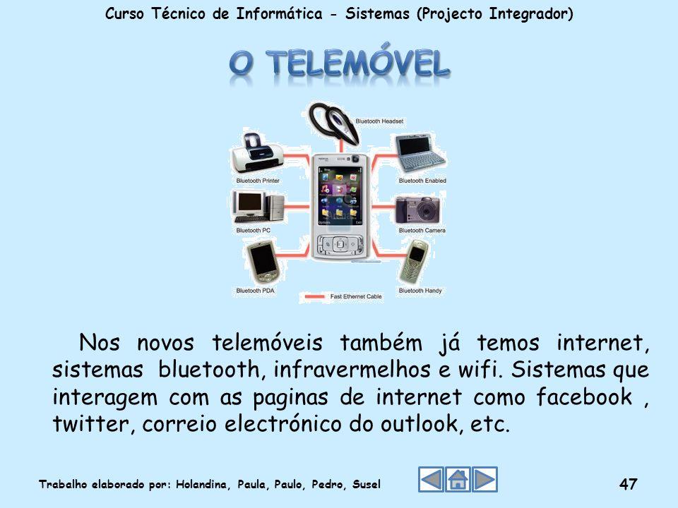 Curso Técnico de Informática - Sistemas (Projecto Integrador) Trabalho elaborado por: Holandina, Paula, Paulo, Pedro, Susel 47 Nos novos telemóveis ta