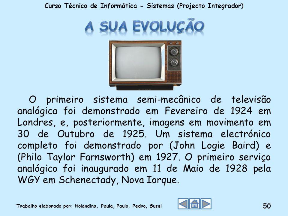 O primeiro sistema semi-mecânico de televisão analógica foi demonstrado em Fevereiro de 1924 em Londres, e, posteriormente, imagens em movimento em 30