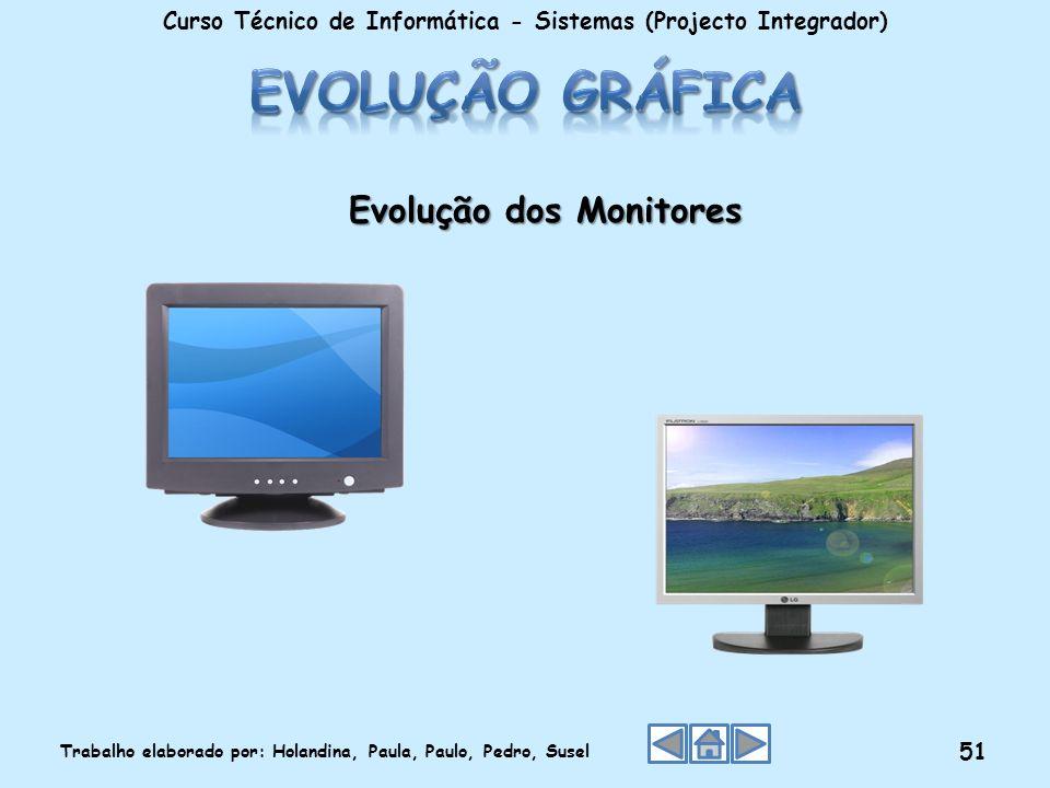 Evolução dos Monitores Curso Técnico de Informática - Sistemas (Projecto Integrador) Trabalho elaborado por: Holandina, Paula, Paulo, Pedro, Susel 51