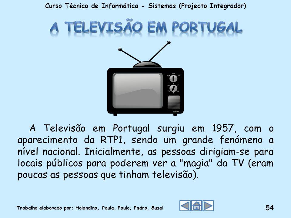 A Televisão em Portugal surgiu em 1957, com o aparecimento da RTP1, sendo um grande fenómeno a nível nacional. Inicialmente, as pessoas dirigiam-se pa