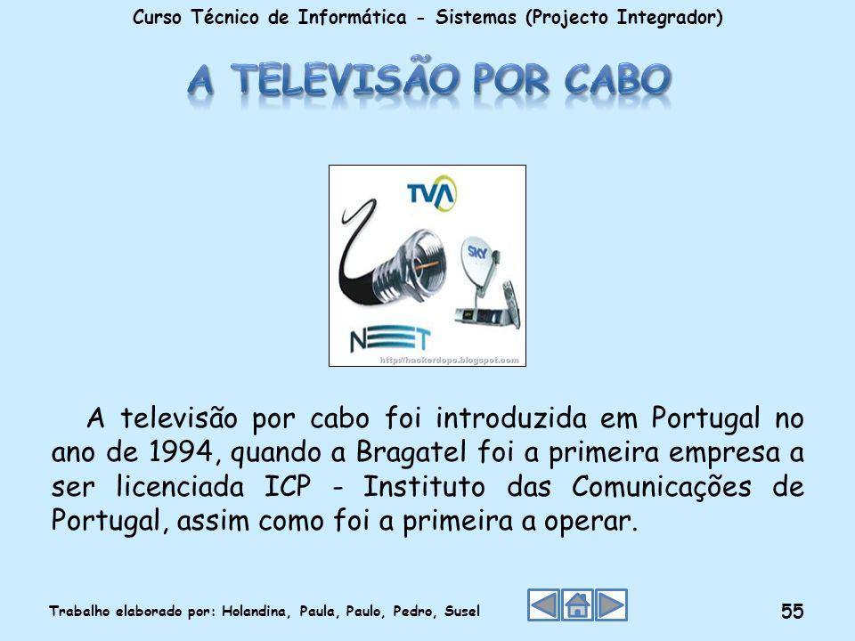 A televisão por cabo foi introduzida em Portugal no ano de 1994, quando a Bragatel foi a primeira empresa a ser licenciada ICP - Instituto das Comunic