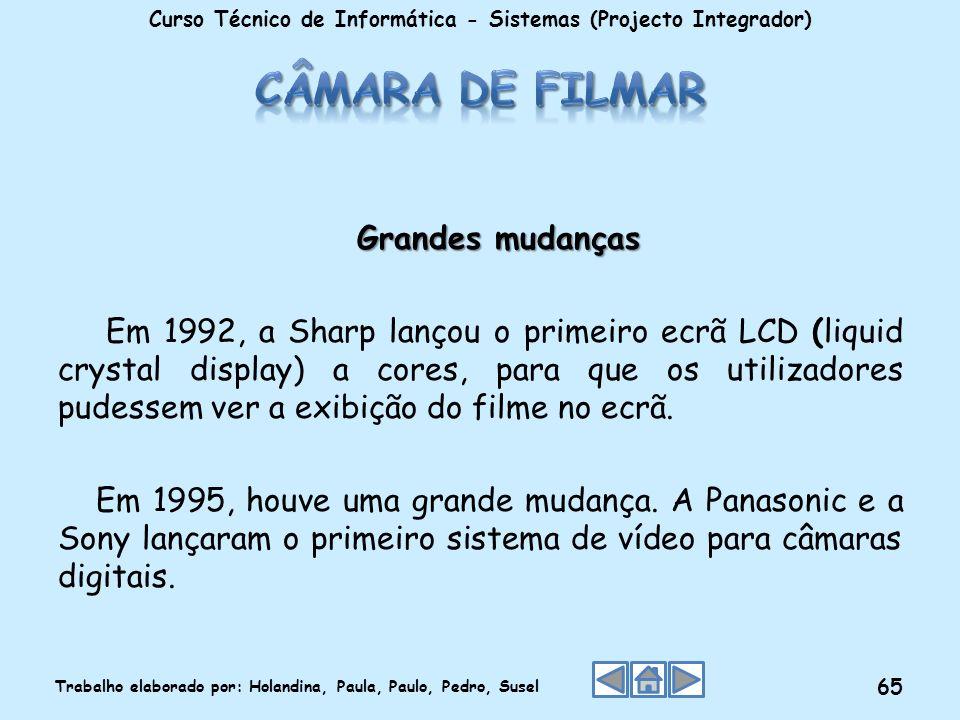 Grandes mudanças Em 1992, a Sharp lançou o primeiro ecrã LCD (liquid crystal display) a cores, para que os utilizadores pudessem ver a exibição do fil