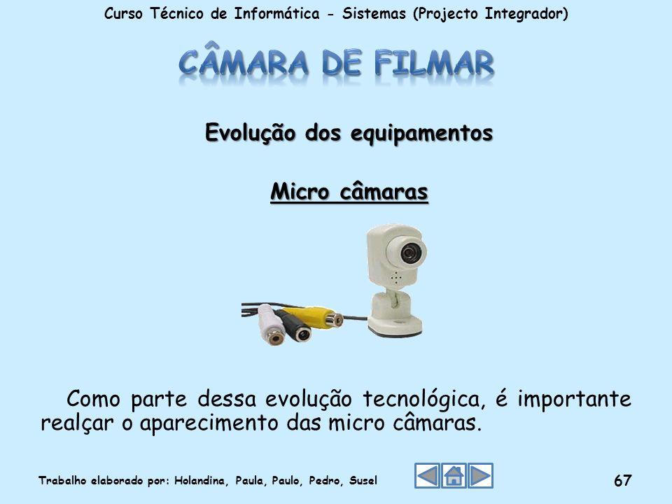 Evolução dos equipamentos Micro câmaras Como parte dessa evolução tecnológica, é importante realçar o aparecimento das micro câmaras. Curso Técnico de