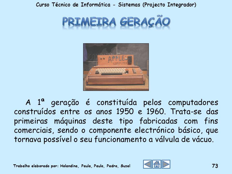 A 1ª geração é constituída pelos computadores construídos entre os anos 1950 e 1960. Trata-se das primeiras máquinas deste tipo fabricadas com fins co