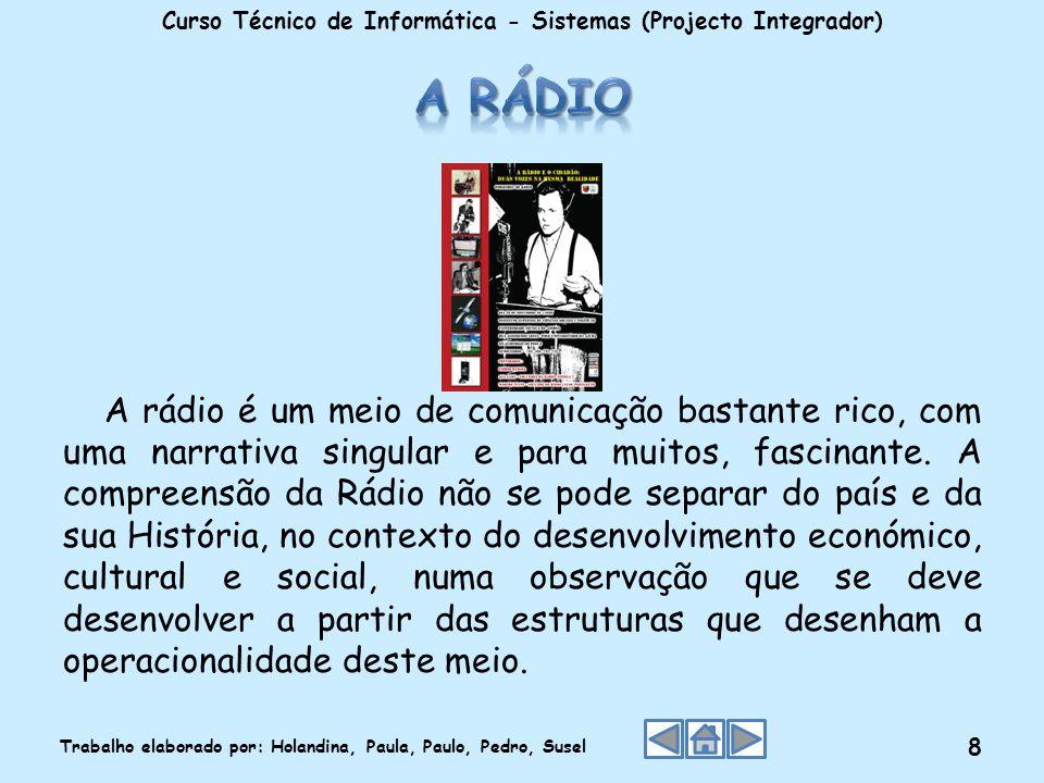 A rádio é um meio de comunicação bastante rico, com uma narrativa singular e para muitos, fascinante. A compreensão da Rádio não se pode separar do pa