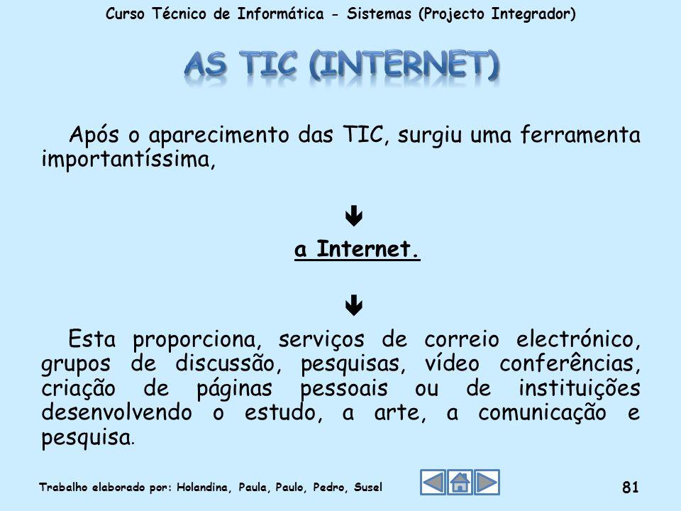 Após o aparecimento das TIC, surgiu uma ferramenta importantíssima, a Internet. Esta proporciona, serviços de correio electrónico, grupos de discussão