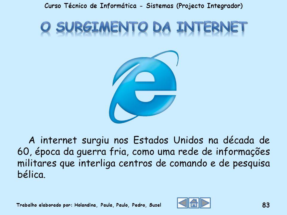 A internet surgiu nos Estados Unidos na década de 60, época da guerra fria, como uma rede de informações militares que interliga centros de comando e