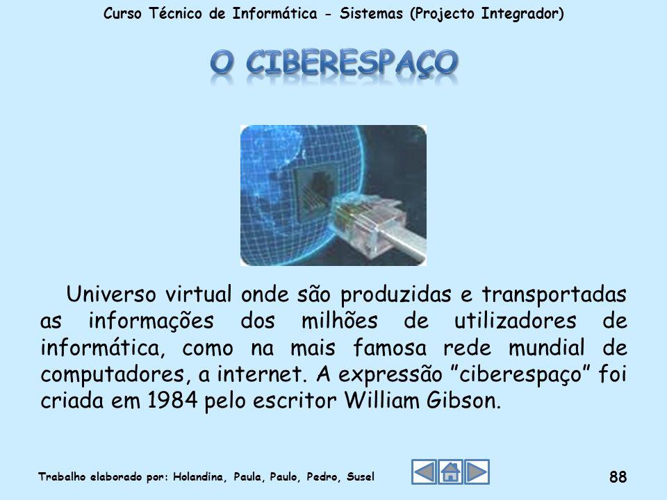 Universo virtual onde são produzidas e transportadas as informações dos milhões de utilizadores de informática, como na mais famosa rede mundial de co