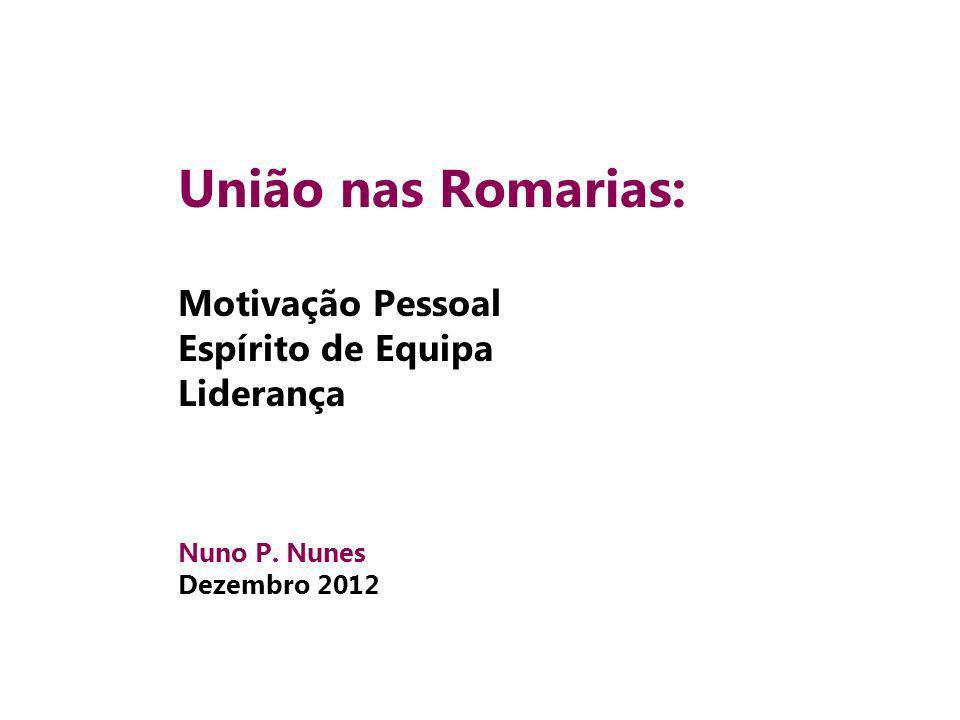 União nas Romarias: Motivação Pessoal Espírito de Equipa Liderança Nuno P. Nunes Dezembro 2012
