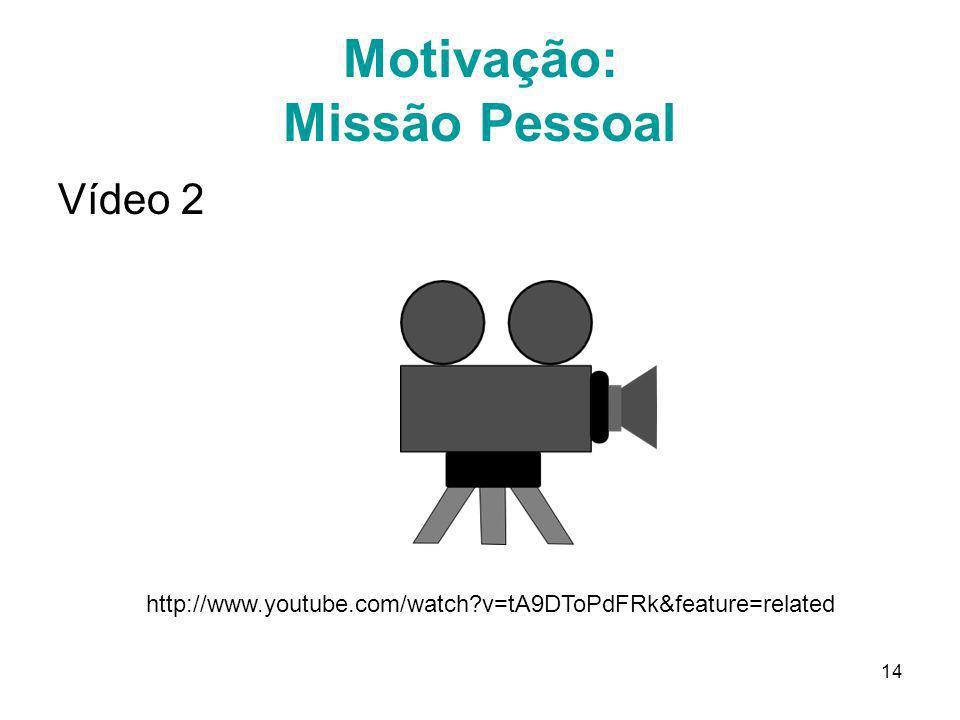 14 Motivação: Missão Pessoal Vídeo 2 http://www.youtube.com/watch?v=tA9DToPdFRk&feature=related