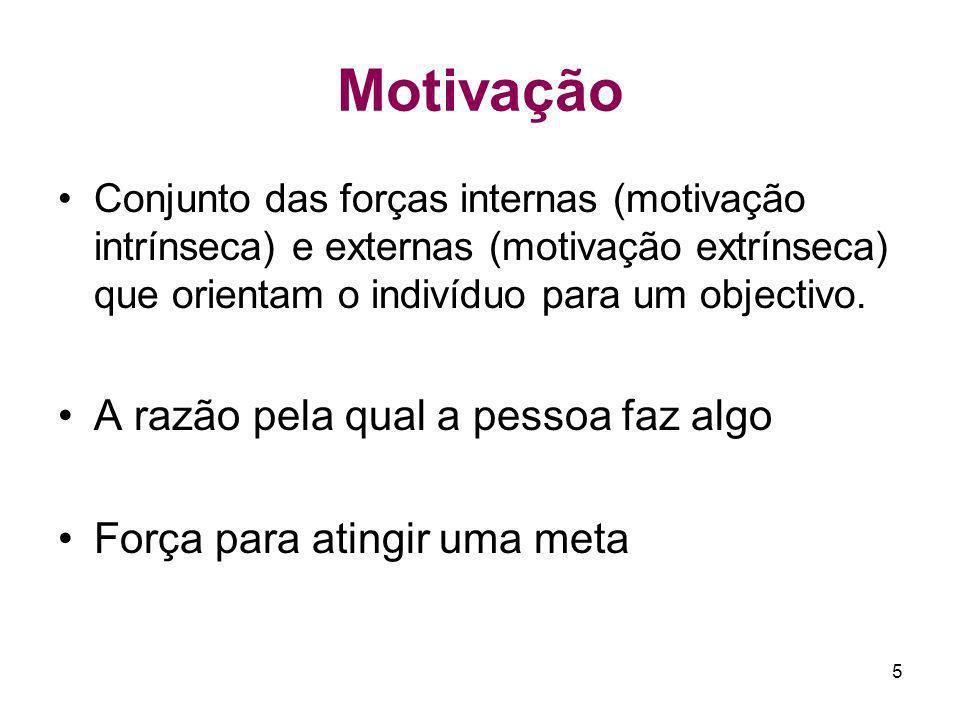 5 Motivação Conjunto das forças internas (motivação intrínseca) e externas (motivação extrínseca) que orientam o indivíduo para um objectivo. A razão