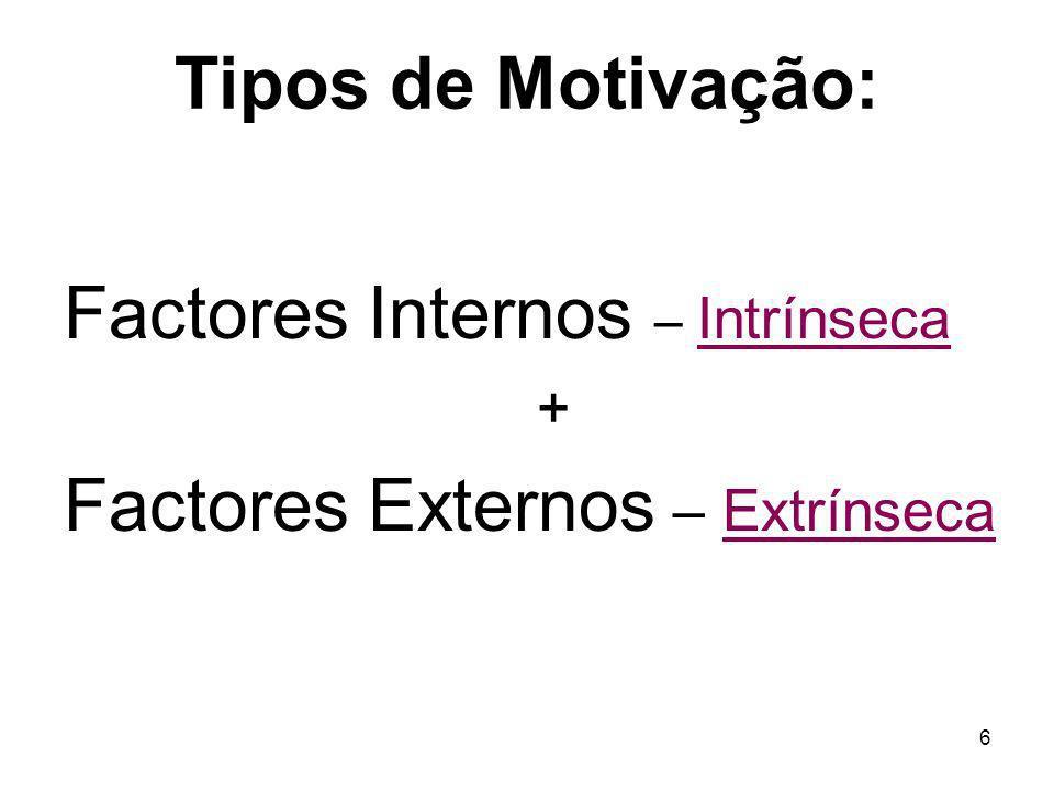 7 Motivação Intrínseca Esforço em fazer algo porque sabe bem, pelo prazer da actividade De acordo com os valores morais do indivíduo (reforços / incentivos internos)