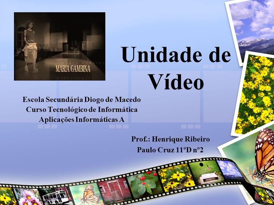 Unidade de Vídeo Escola Secundária Diogo de Macedo Curso Tecnológico de Informática Aplicações Informáticas A Prof.: Henrique Ribeiro Paulo Cruz 11ºD nº2