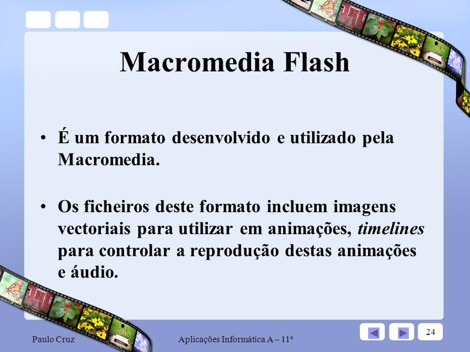 Paulo CruzAplicações Informática A – 11º 24 Macromedia Flash É um formato desenvolvido e utilizado pela Macromedia.