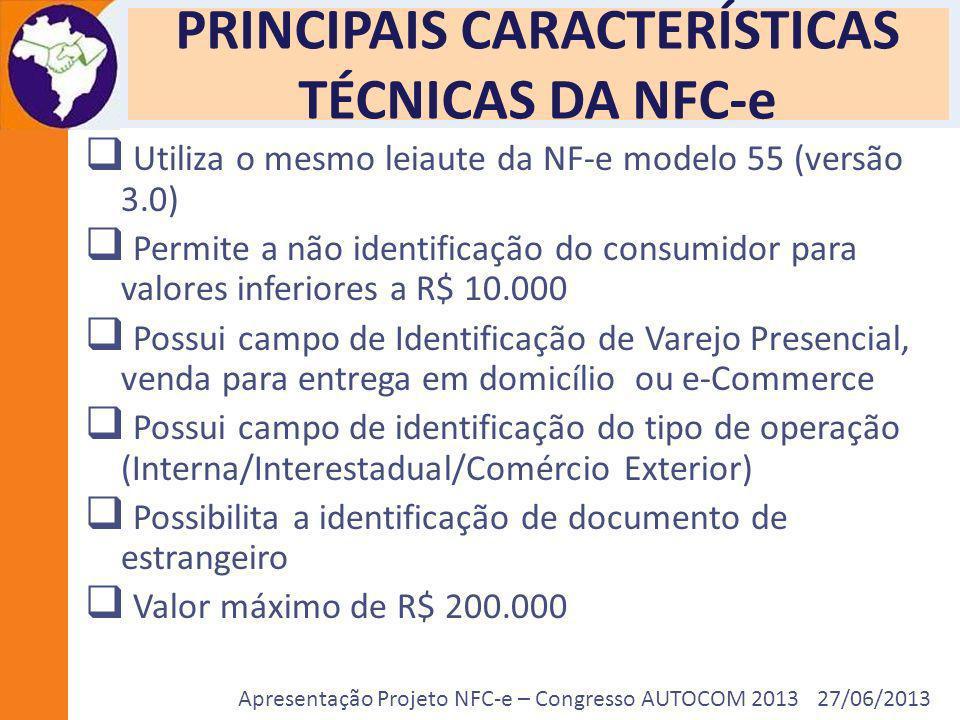 Apresentação Projeto NFC-e – Congresso AUTOCOM 2013 27/06/2013 PRINCIPAIS CARACTERÍSTICAS TÉCNICAS DA NFC-e Utiliza o mesmo leiaute da NF-e modelo 55