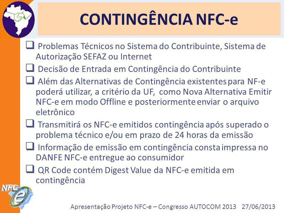 Apresentação Projeto NFC-e – Congresso AUTOCOM 2013 27/06/2013 CONTINGÊNCIA NFC-e Problemas Técnicos no Sistema do Contribuinte, Sistema de Autorizaçã