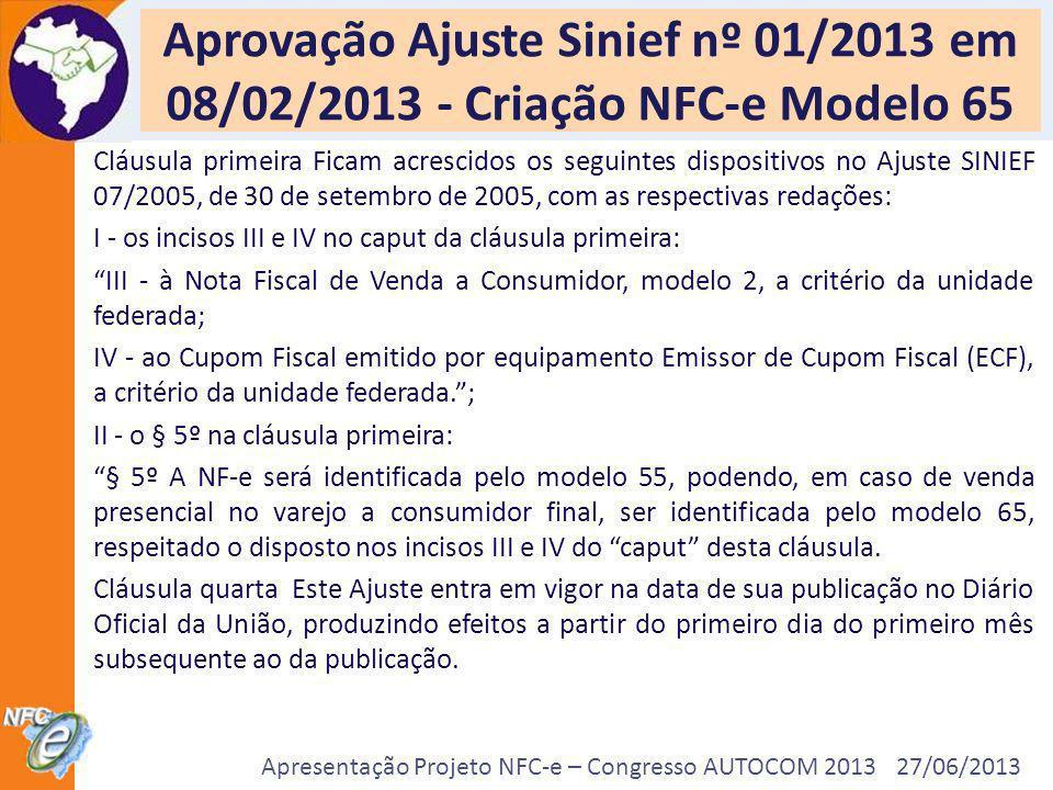 Apresentação Projeto NFC-e – Congresso AUTOCOM 2013 27/06/2013 Aprovação Ajuste Sinief nº 01/2013 em 08/02/2013 - Criação NFC-e Modelo 65 Cláusula pri