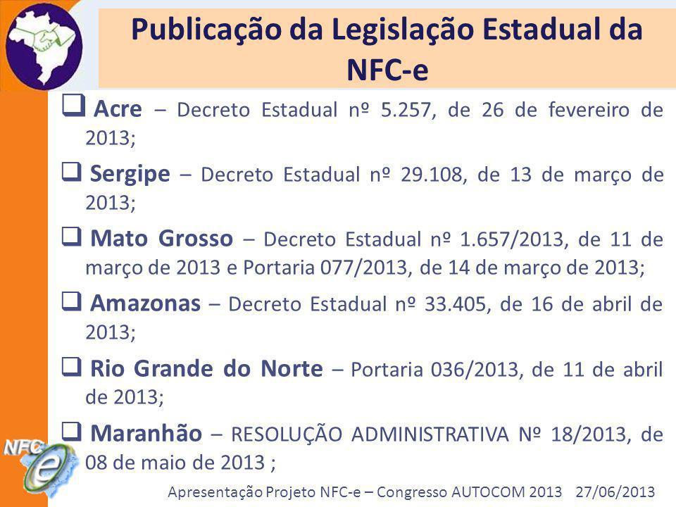 Apresentação Projeto NFC-e – Congresso AUTOCOM 2013 27/06/2013 Publicação da Legislação Estadual da NFC-e Acre – Decreto Estadual nº 5.257, de 26 de f