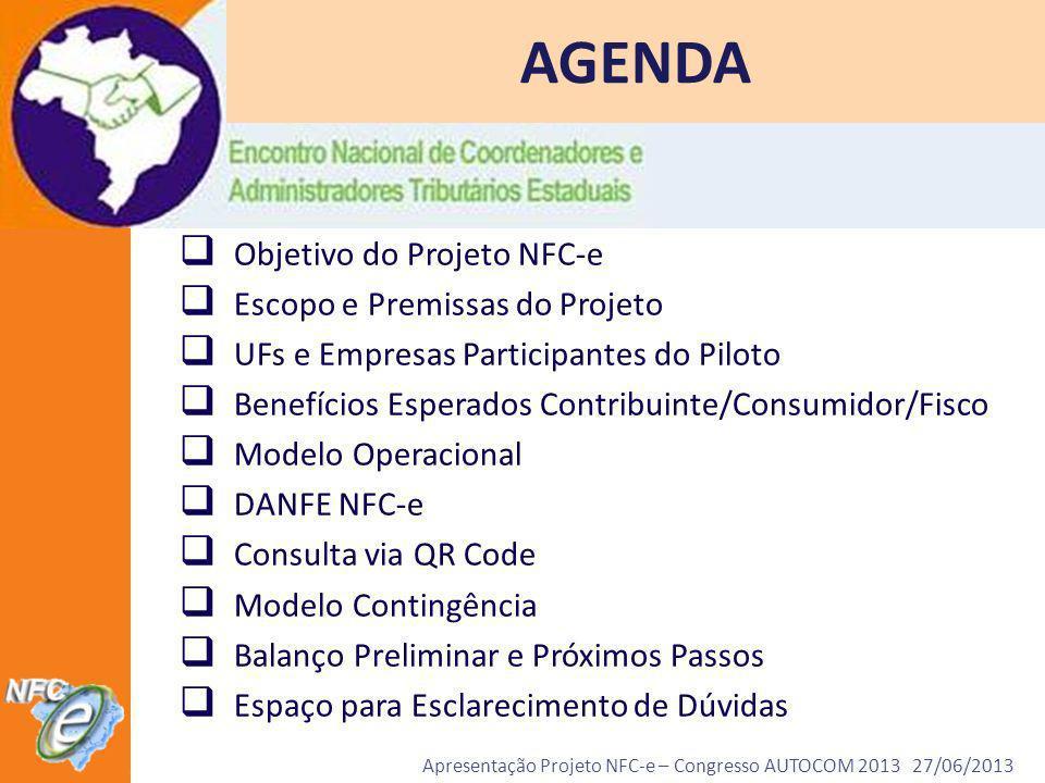 Apresentação Projeto NFC-e – Congresso AUTOCOM 2013 27/06/2013 AGENDA Objetivo do Projeto NFC-e Escopo e Premissas do Projeto UFs e Empresas Participa