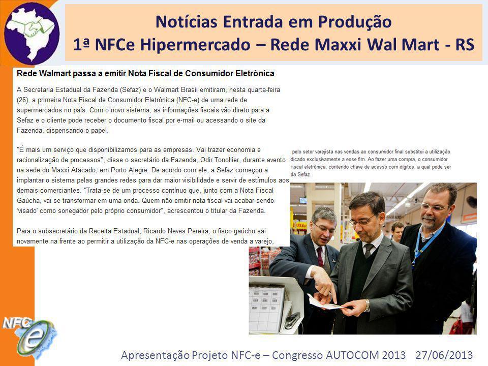 Apresentação Projeto NFC-e – Congresso AUTOCOM 2013 27/06/2013 Notícias Entrada em Produção 1ª NFCe Hipermercado – Rede Maxxi Wal Mart - RS