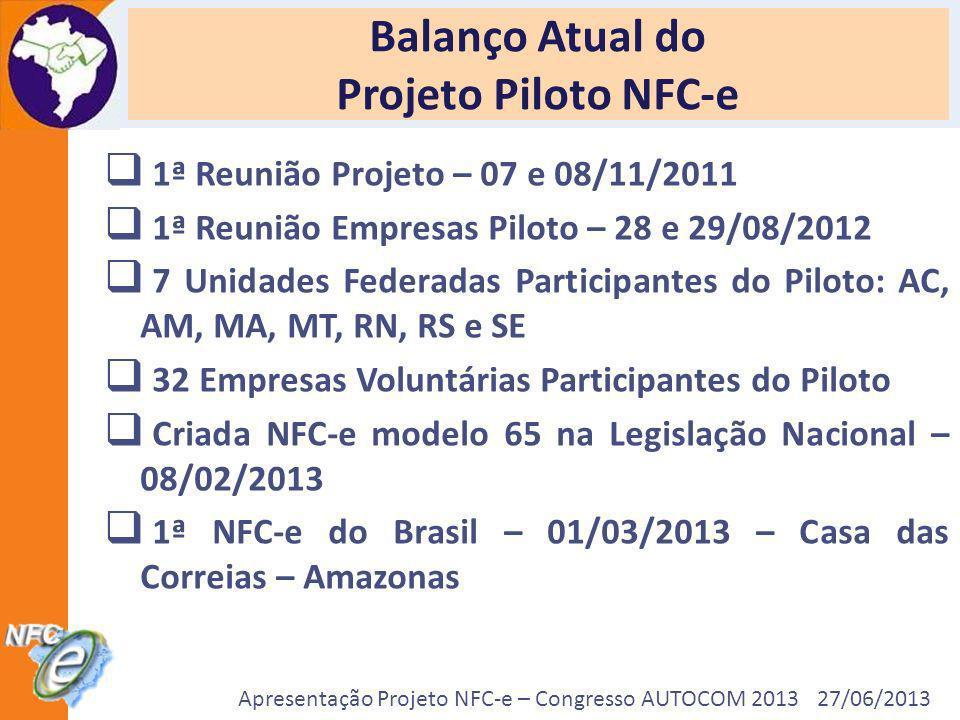 Apresentação Projeto NFC-e – Congresso AUTOCOM 2013 27/06/2013 Balanço Atual do Projeto Piloto NFC-e 1ª Reunião Projeto – 07 e 08/11/2011 1ª Reunião E