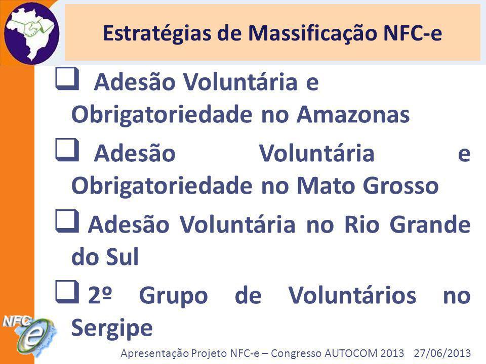 Apresentação Projeto NFC-e – Congresso AUTOCOM 2013 27/06/2013 Estratégias de Massificação NFC-e Adesão Voluntária e Obrigatoriedade no Amazonas Adesã