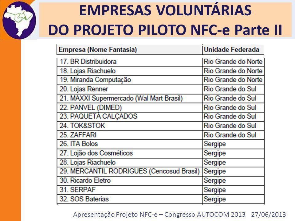 Apresentação Projeto NFC-e – Congresso AUTOCOM 2013 27/06/2013 Publicação da Legislação Estadual da NFC-e Acre – Decreto Estadual nº 5.257, de 26 de fevereiro de 2013; Sergipe – Decreto Estadual nº 29.108, de 13 de março de 2013; Mato Grosso – Decreto Estadual nº 1.657/2013, de 11 de março de 2013 e Portaria 077/2013, de 14 de março de 2013; Amazonas – Decreto Estadual nº 33.405, de 16 de abril de 2013; Rio Grande do Norte – Portaria 036/2013, de 11 de abril de 2013; Maranhão – RESOLUÇÃO ADMINISTRATIVA Nº 18/2013, de 08 de maio de 2013 ;