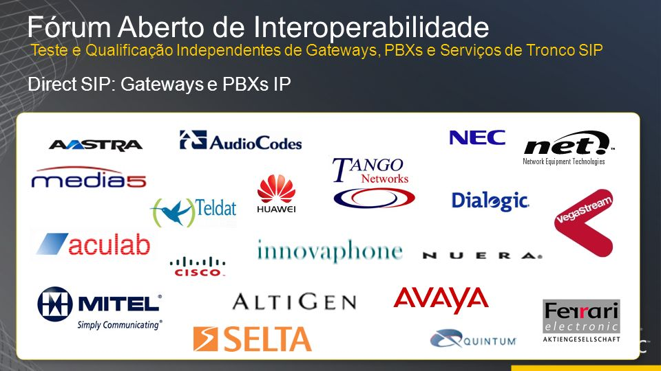 Fórum Aberto de Interoperabilidade Direct SIP: Gateways e PBXs IP Teste e Qualificação Independentes de Gateways, PBXs e Serviços de Tronco SIP