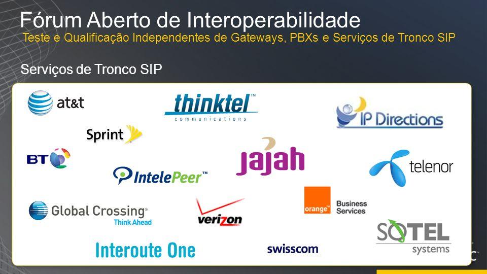 Fórum Aberto de Interoperabilidade Serviços de Tronco SIP Teste e Qualificação Independentes de Gateways, PBXs e Serviços de Tronco SIP