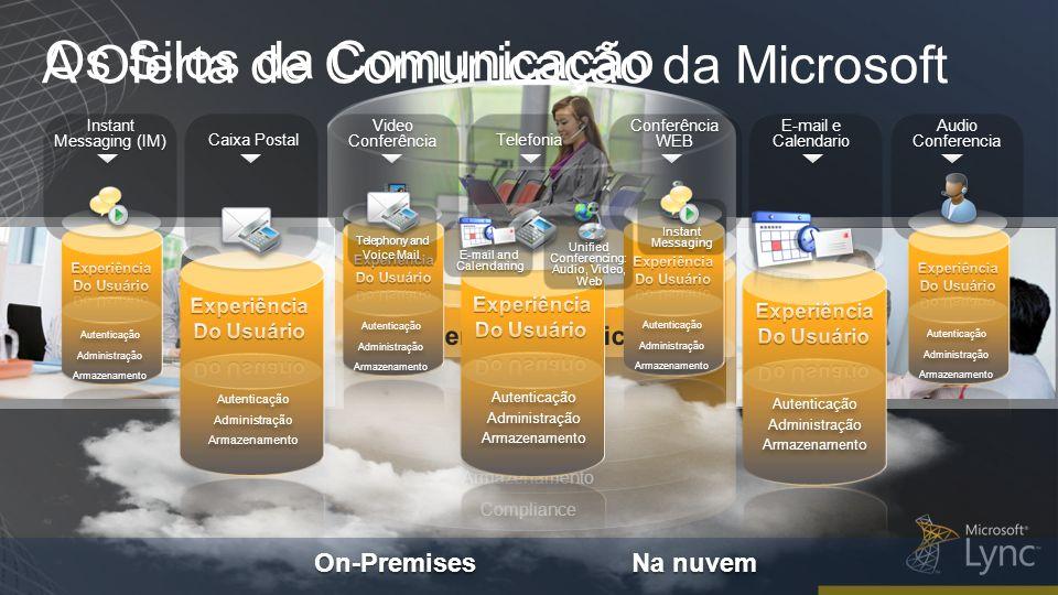 Autenticação Administração Armazenamento Compliance Autenticação Administração Armazenamento Compliance Audio Conferencia E-mail e Calendario E-mail e