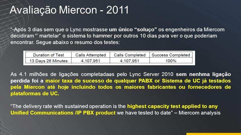 Avaliação Miercon - 2011 -Após 3 dias sem que o Lync mostrasse um único soluço os engenheiros da Miercom decidiram martelar o sistema to hammer por ou
