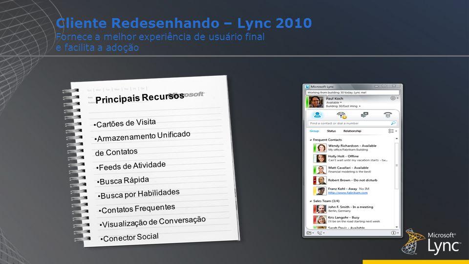 Cliente Redesenhando – Lync 2010 Fornece a melhor experiência de usuário final e facilita a adoção Principais Recursos Cartões de Visita Armazenamento
