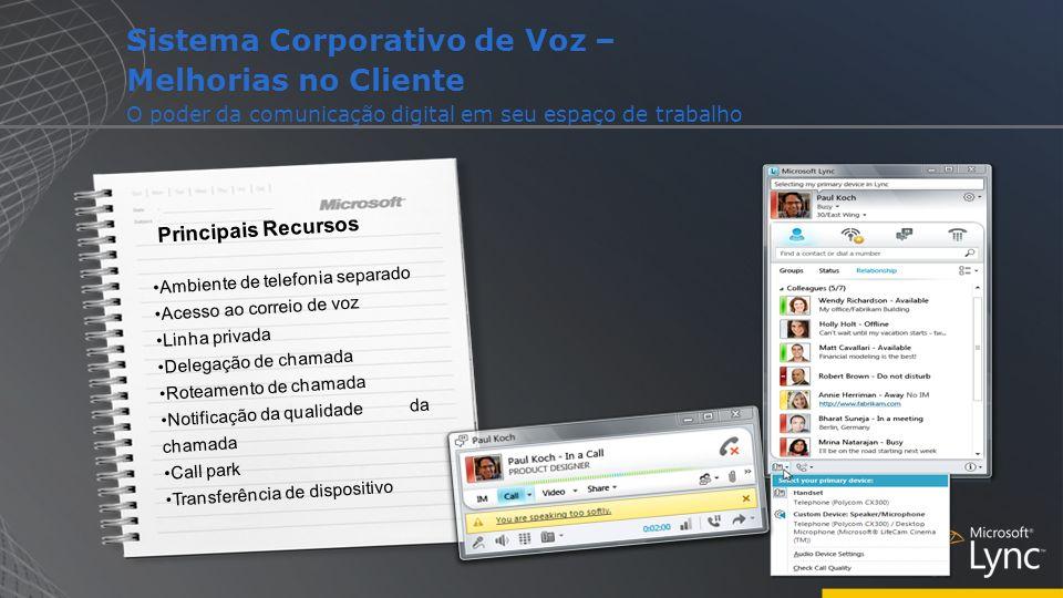 Sistema Corporativo de Voz – Melhorias no Cliente O poder da comunicação digital em seu espaço de trabalho Principais Recursos Ambiente de telefonia s
