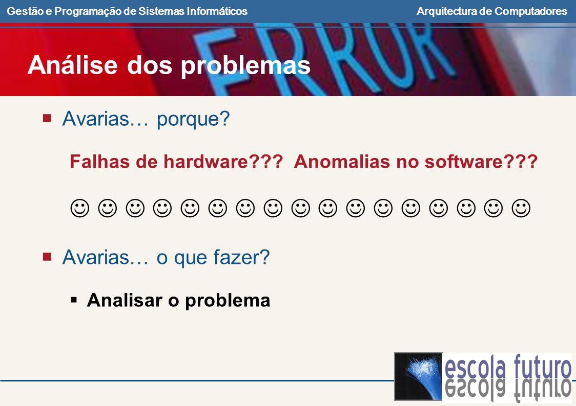 Gestão e Programação de Sistemas InformáticosArquitectura de Computadores Análise dos problemas Avarias… porque? Falhas de hardware??? Anomalias no so