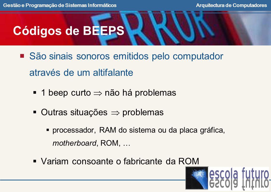 Gestão e Programação de Sistemas InformáticosArquitectura de Computadores Códigos de BEEPS São sinais sonoros emitidos pelo computador através de um a