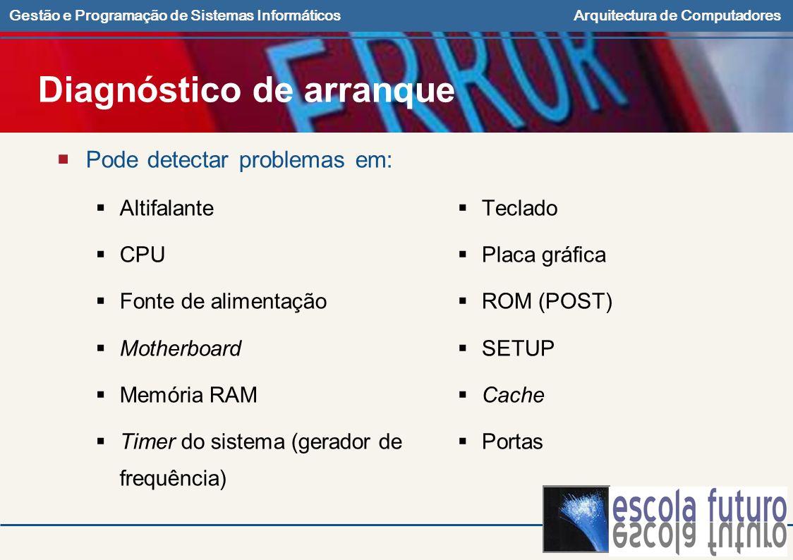 Gestão e Programação de Sistemas InformáticosArquitectura de Computadores Diagnóstico de arranque Pode detectar problemas em: Altifalante CPU Fonte de