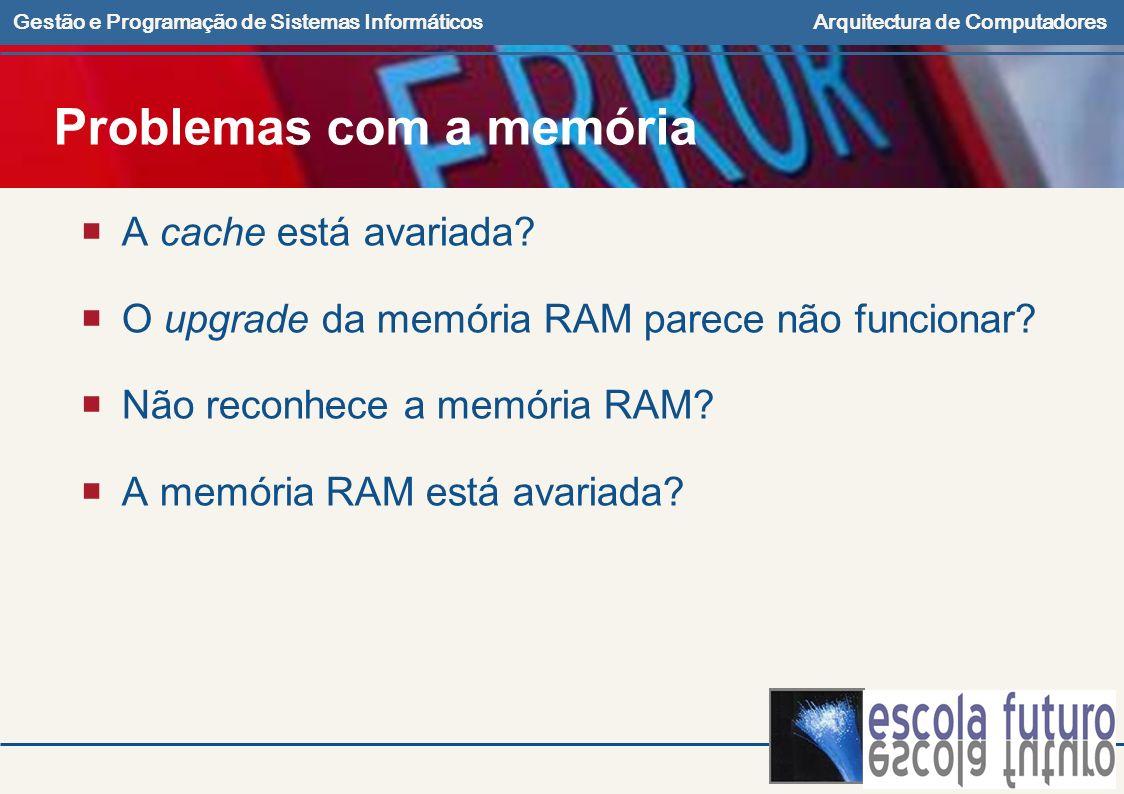 Gestão e Programação de Sistemas InformáticosArquitectura de Computadores Problemas com a memória A cache está avariada? O upgrade da memória RAM pare