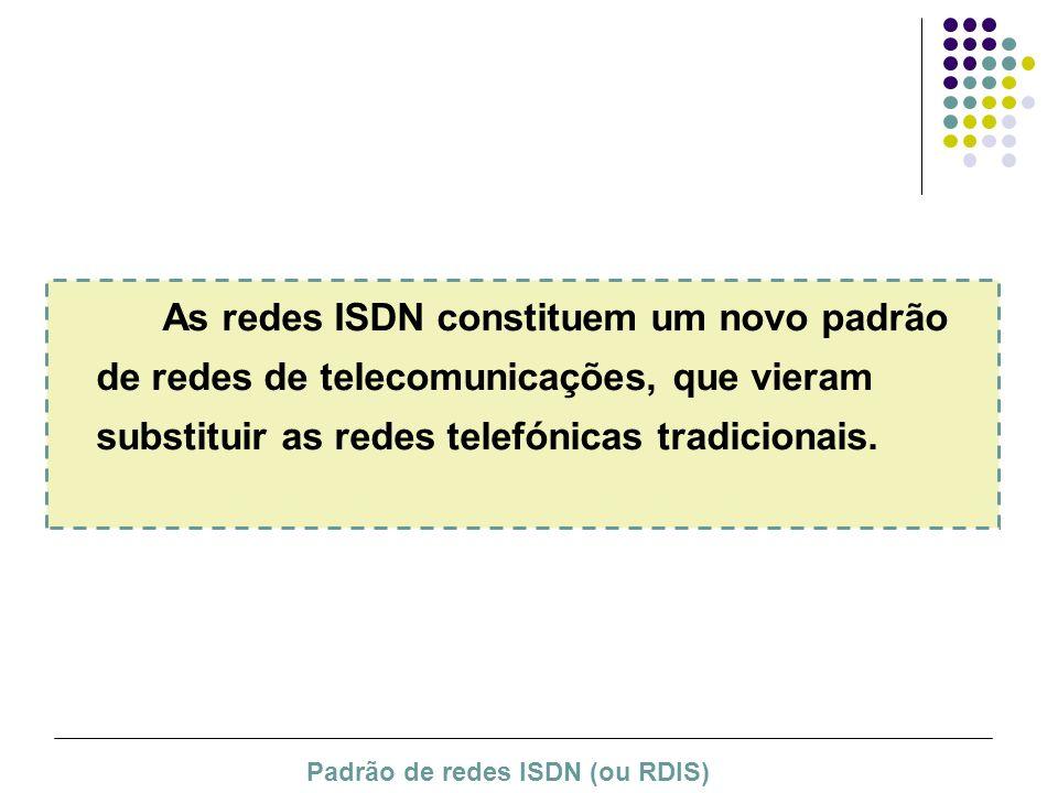 As redes ISDN constituem um novo padrão de redes de telecomunicações, que vieram substituir as redes telefónicas tradicionais. Padrão de redes ISDN (o