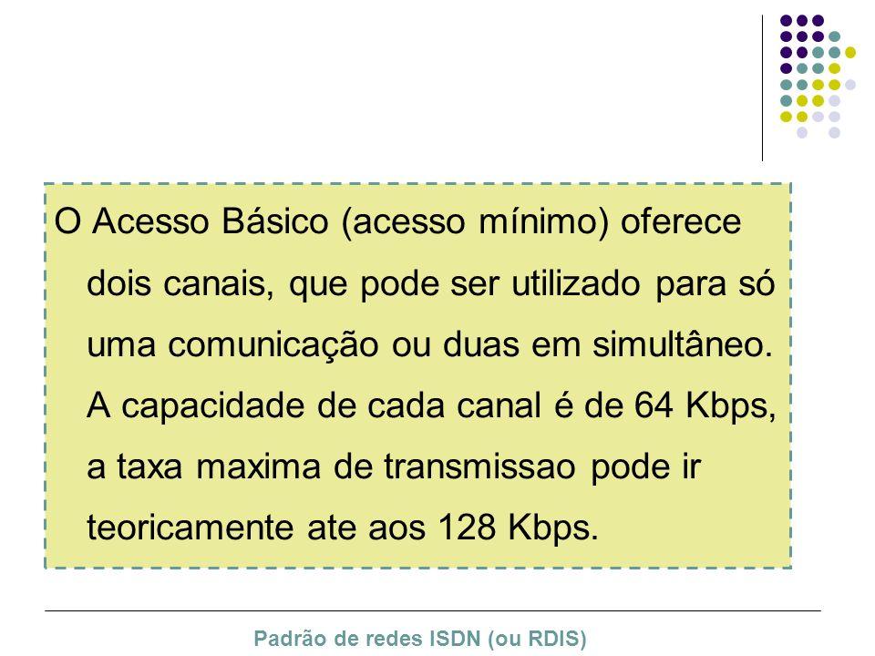 O Acesso Básico (acesso mínimo) oferece dois canais, que pode ser utilizado para só uma comunicação ou duas em simultâneo. A capacidade de cada canal
