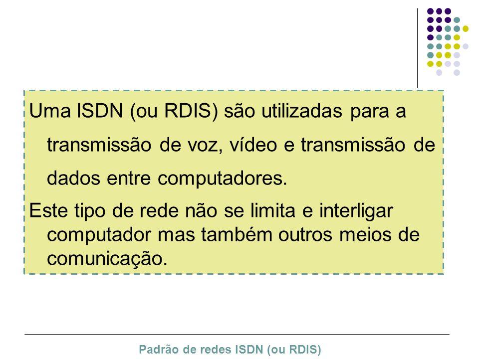 Uma ISDN (ou RDIS) são utilizadas para a transmissão de voz, vídeo e transmissão de dados entre computadores. Este tipo de rede não se limita e interl
