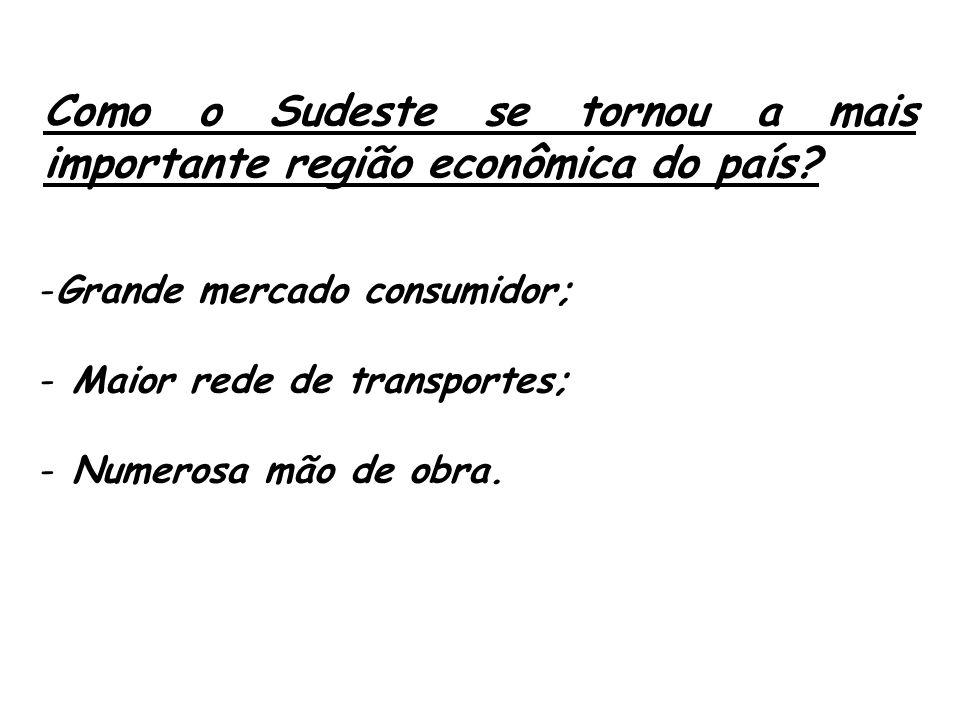 Como o Sudeste se tornou a mais importante região econômica do país? -Grande mercado consumidor; - Maior rede de transportes; - Numerosa mão de obra.
