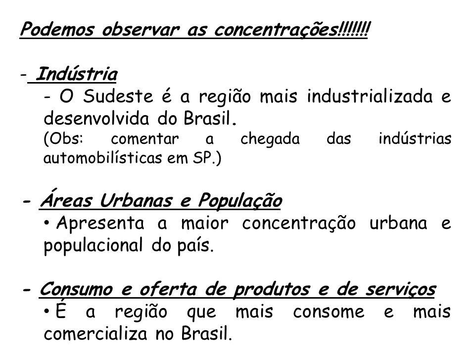 Podemos observar as concentrações!!!!!!! - Indústria - O Sudeste é a região mais industrializada e desenvolvida do Brasil. (Obs: comentar a chegada da