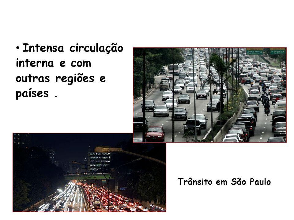 Intensa circulação interna e com outras regiões e países. Trânsito em São Paulo