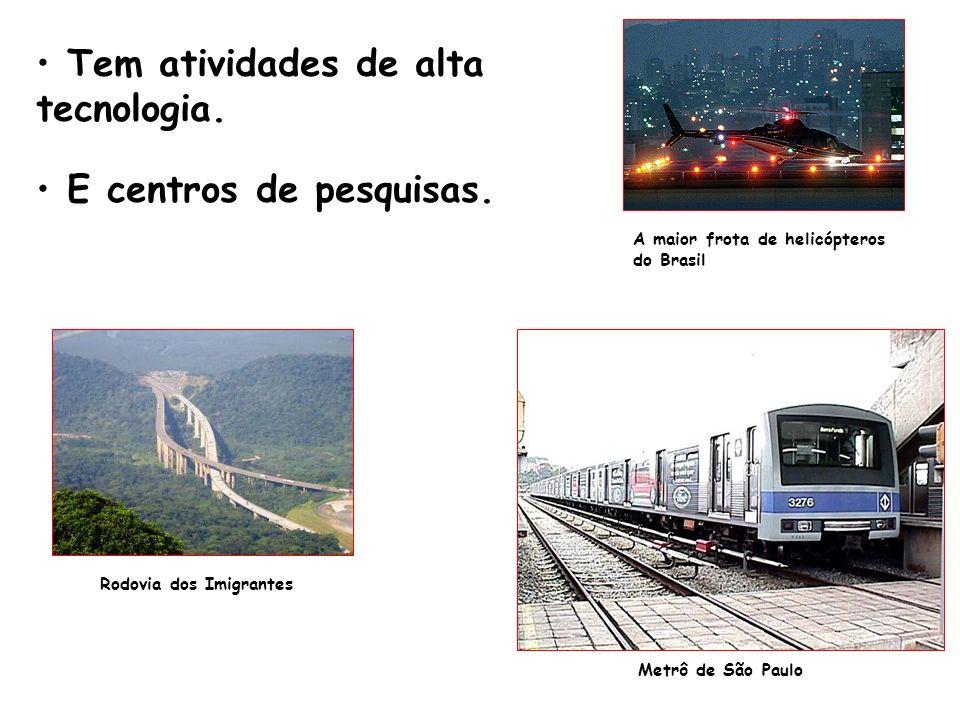 Tem atividades de alta tecnologia. E centros de pesquisas. A maior frota de helicópteros do Brasil Metrô de São Paulo Rodovia dos Imigrantes