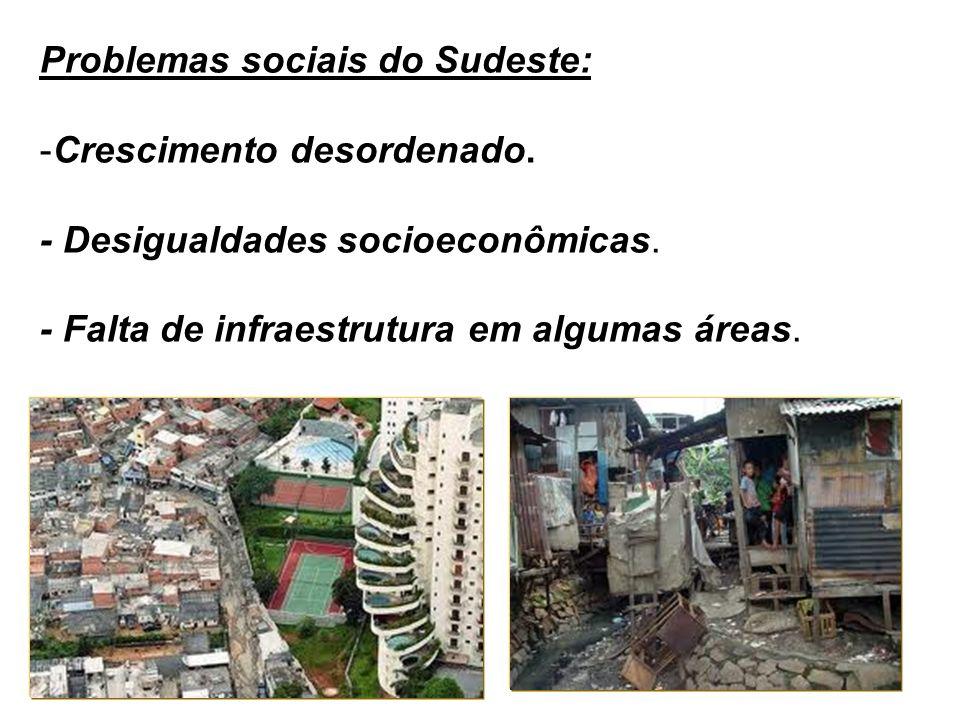 Problemas sociais do Sudeste: -Crescimento desordenado. - Desigualdades socioeconômicas. - Falta de infraestrutura em algumas áreas.