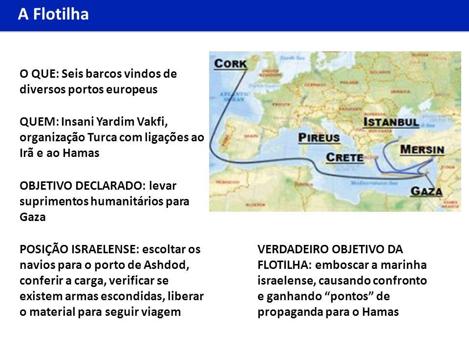 A Flotilha OBJETIVO DECLARADO: levar suprimentos humanitários para Gaza VERDADEIRO OBJETIVO DA FLOTILHA: emboscar a marinha israelense, causando confr
